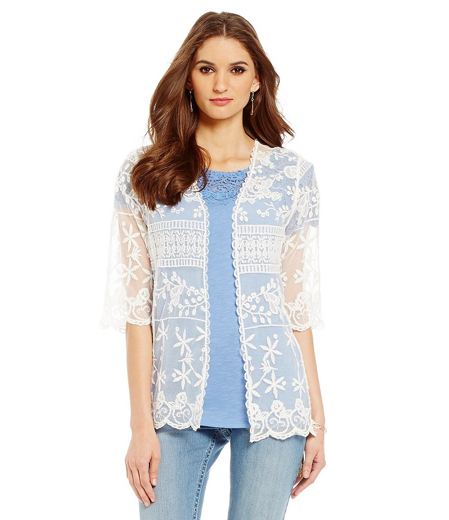 Nurture Embroidered Mesh Cardigan