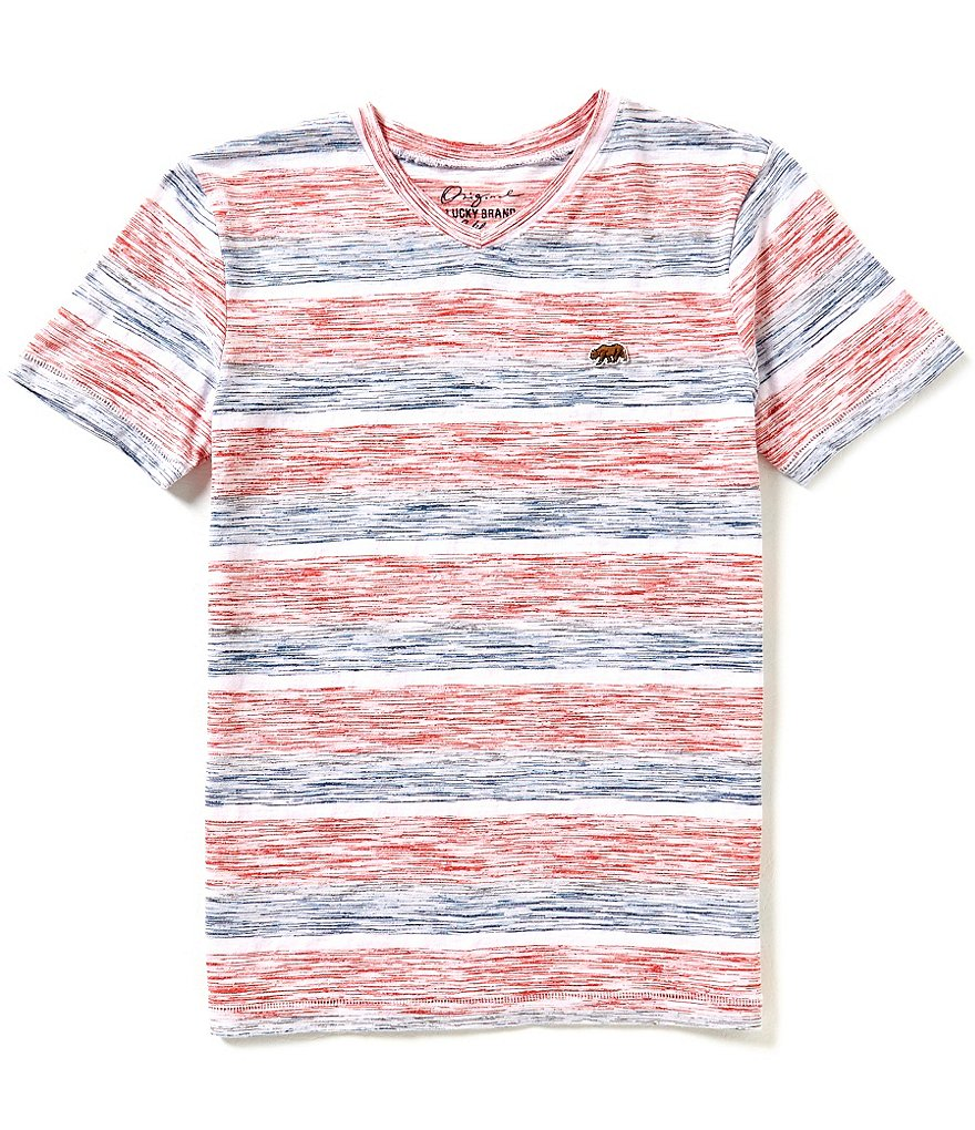 Lucky Brand Big Boys 8-20 Patriot Space-Dyed-Striped Short-Sleeve Slub Jersey Tee