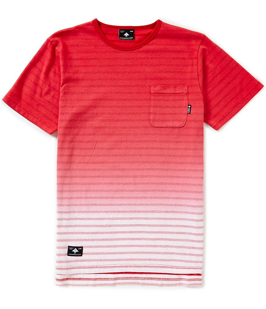 LRG Horizontal Striped Derby Knit Drop Tail Short Sleeve Tee
