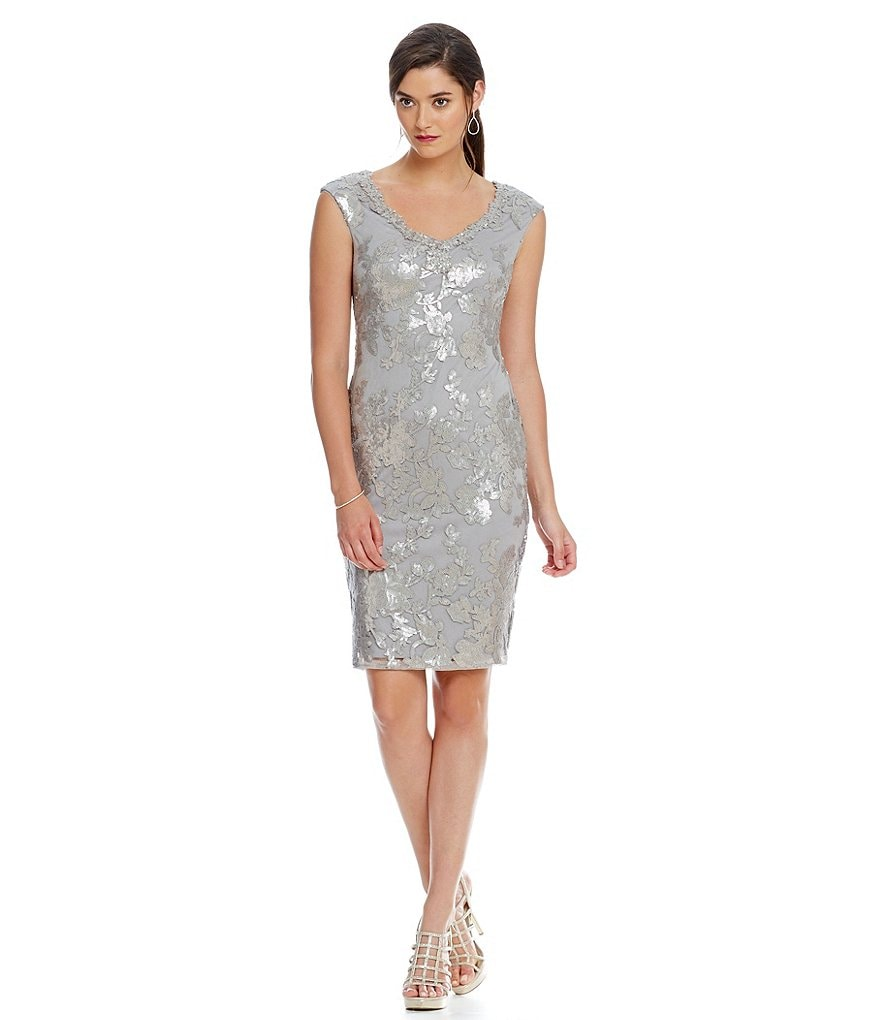 Adrianna Papell V-Neck Sequin Lace Dress