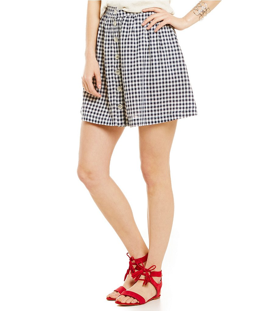 Copper Key Gingham Button-Front Swing Skirt