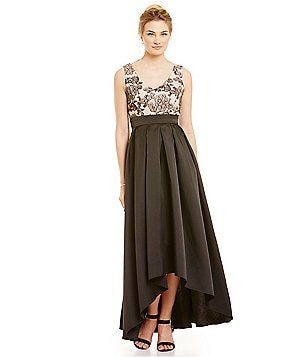 Ignite Evenings Lace Bodice Hi-Low Gown