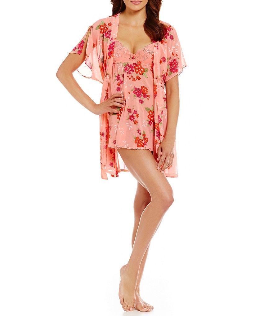Cinema Etoile Marjorie Floral-Printed Chiffon Babydoll and Robe Set