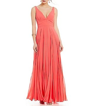 Laundry By Shelli Segal Wrap Front Open Back A-line Gown