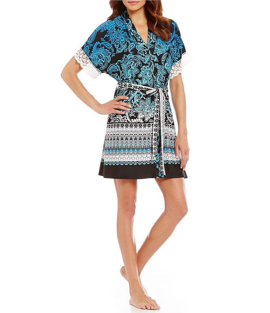 In Bloom by Jonquil Canyon Crochet-Trimmed Paisley Robe