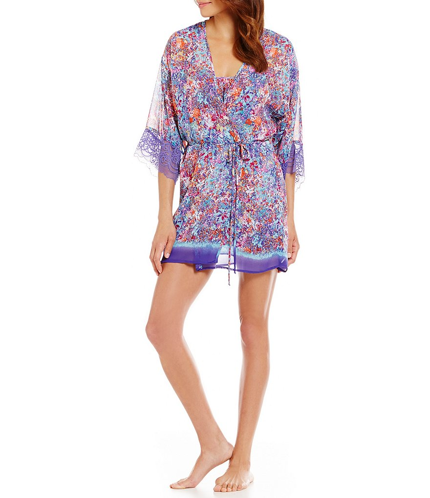 In Bloom by Jonquil Electricity Lace-Trimmed Floral Robe