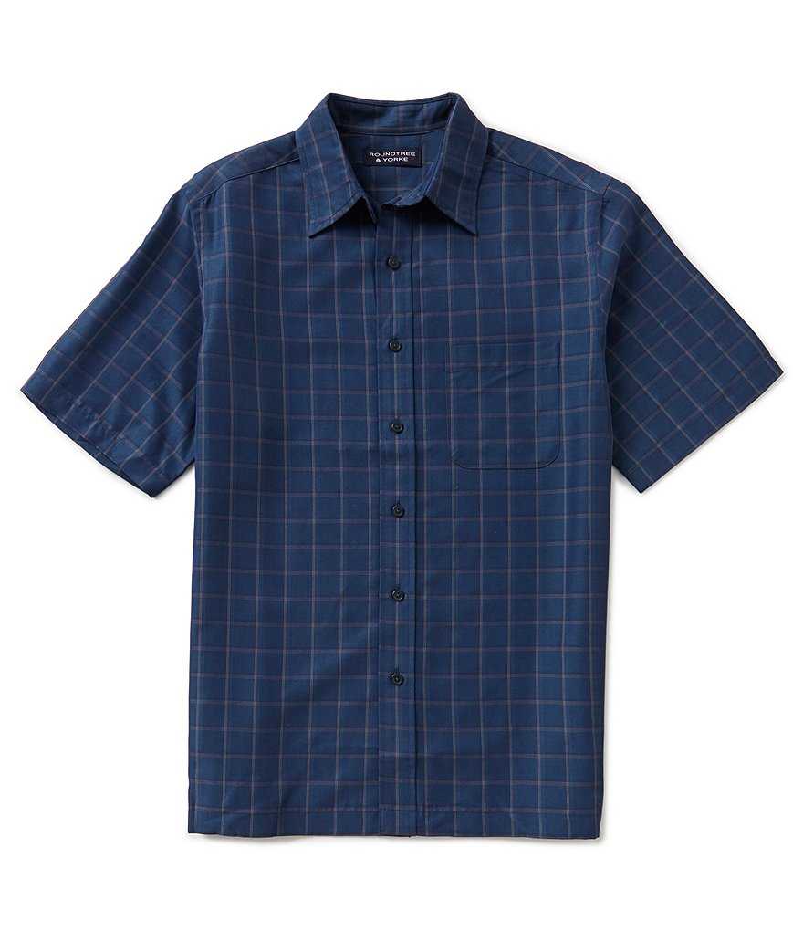 Roundtree & Yorke Big & Tall Plaid Polynosic Shirt