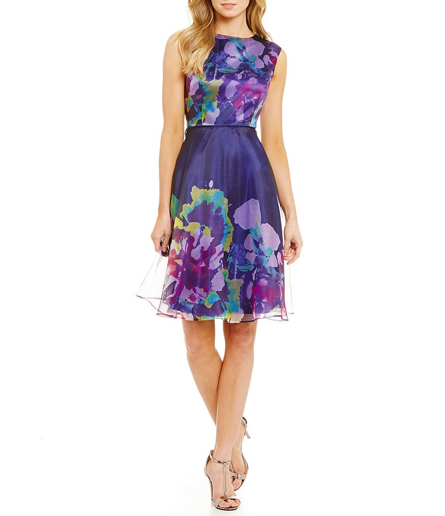 Tahari ASL Floral Fit and Flare Dress