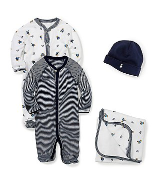 Ralph Lauren Childrenswear Baby Boys Newborn-9 Months Coverall, Blanket, Beanie