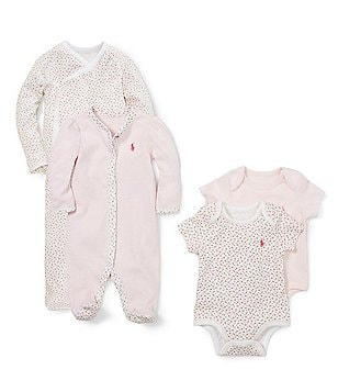 Ralph Lauren Childrenswear Baby Girls Newborn Printed Kimono Set, Coverall, & Bodysuit Set