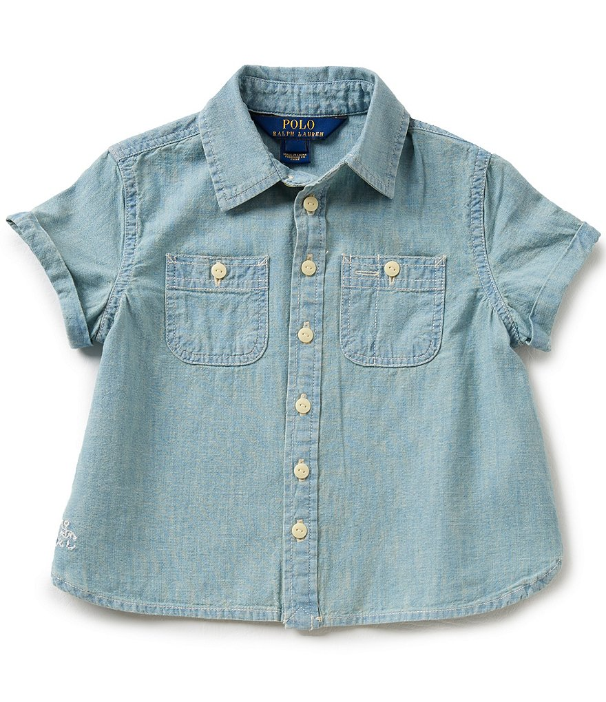 Ralph Lauren Childrenswear Big Girls 7-16 Chambray Point-Collar Shirt