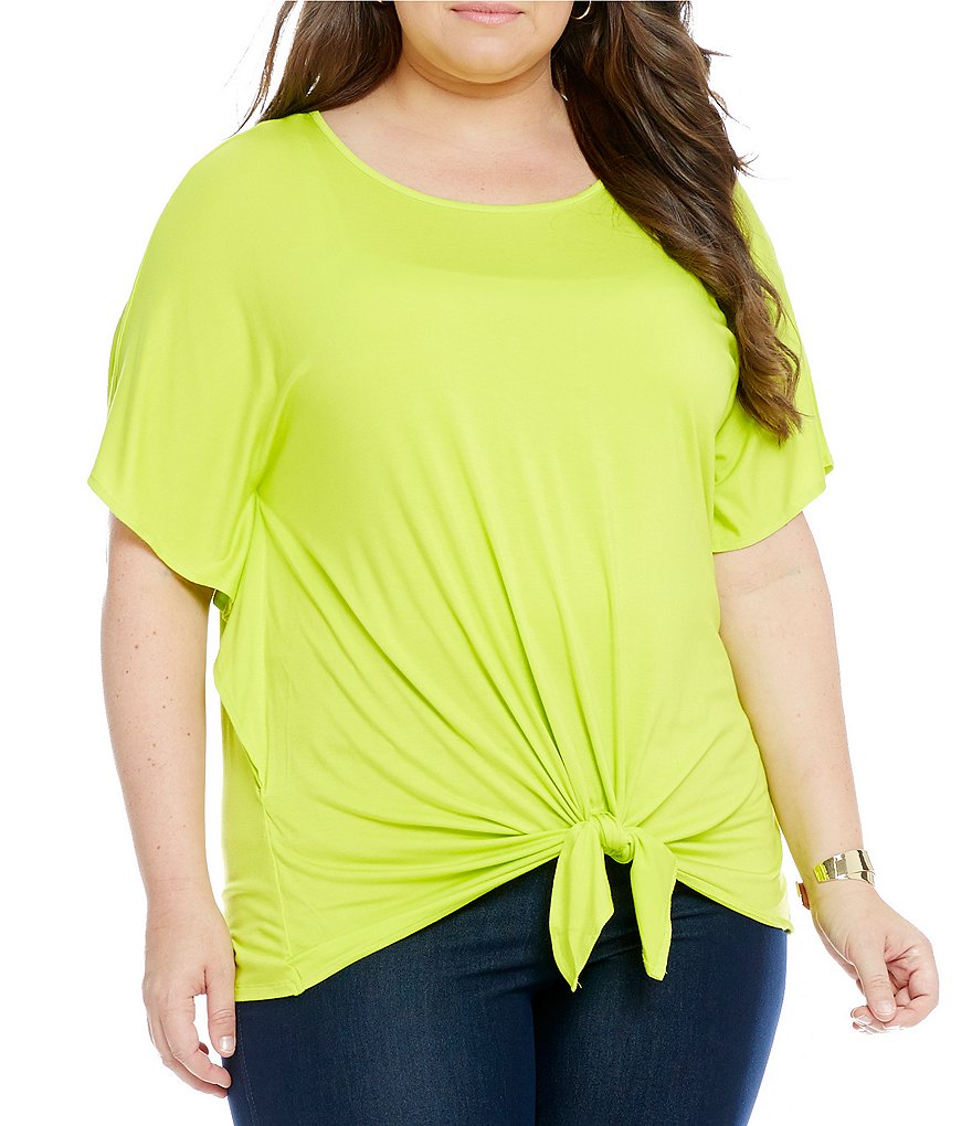 Investments Plus Tie Front Short Sleeve Top