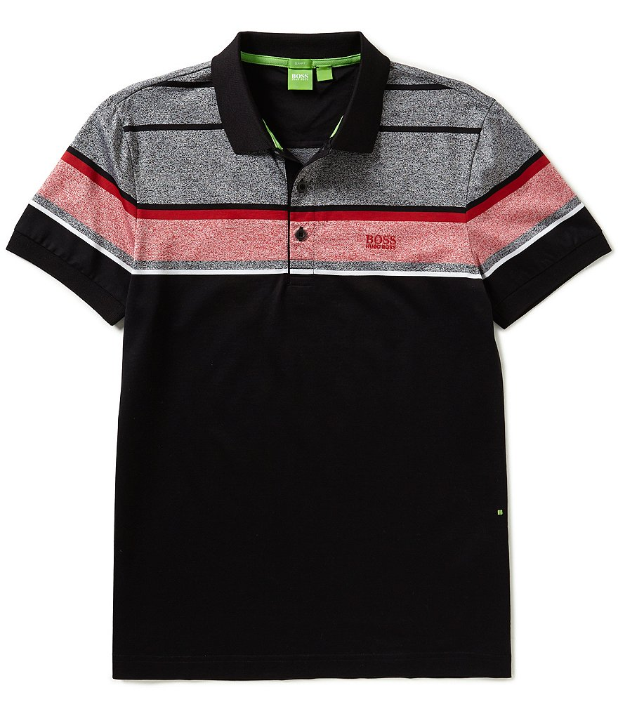 BOSS Green Slim Fit Engineered Horizontal Stripe Short Sleeve Polo Shirt