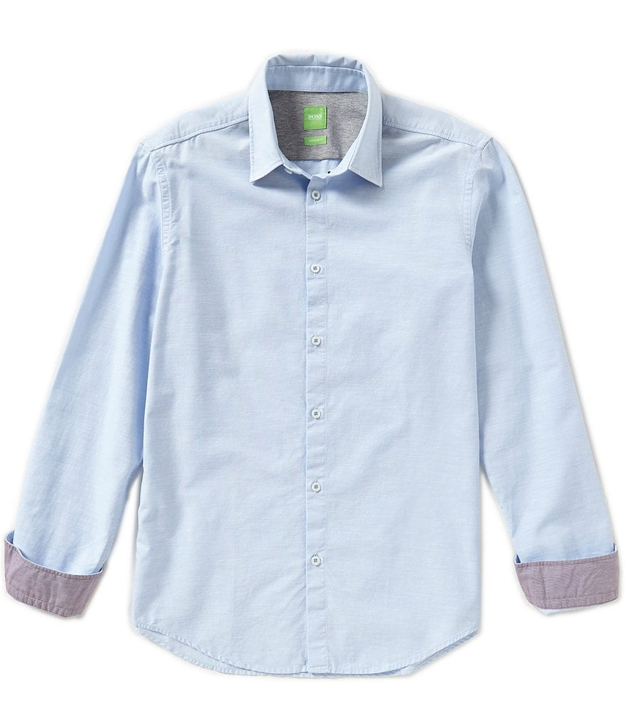 BOSS Green Long-Sleeve Briar Sand Wash Solid Woven Shirt