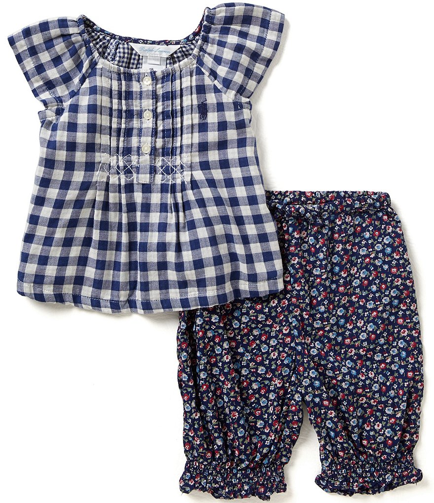Ralph Lauren Childrenswear Baby Girls 3-24 Months Gingham-Printed Top and Floral-Printed Pants Set