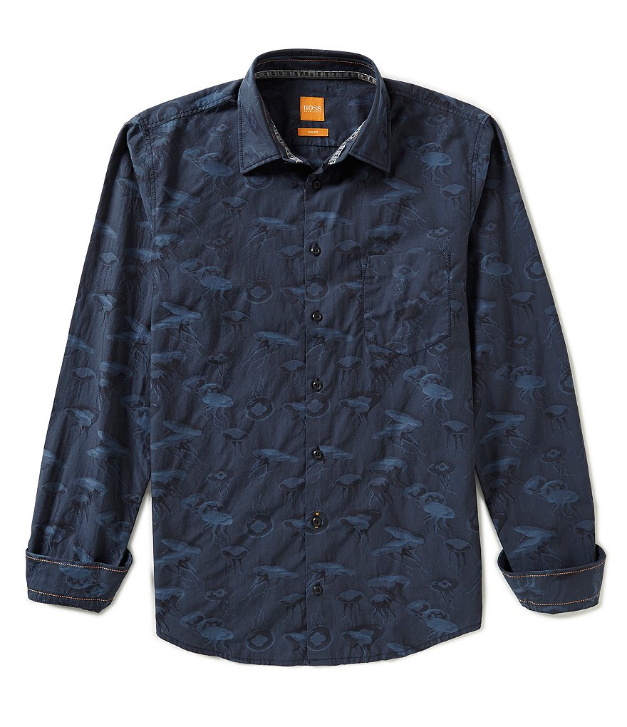 BOSS Orange Enamee Repeating Jellyfish Print Long Sleeve Woven Shirt