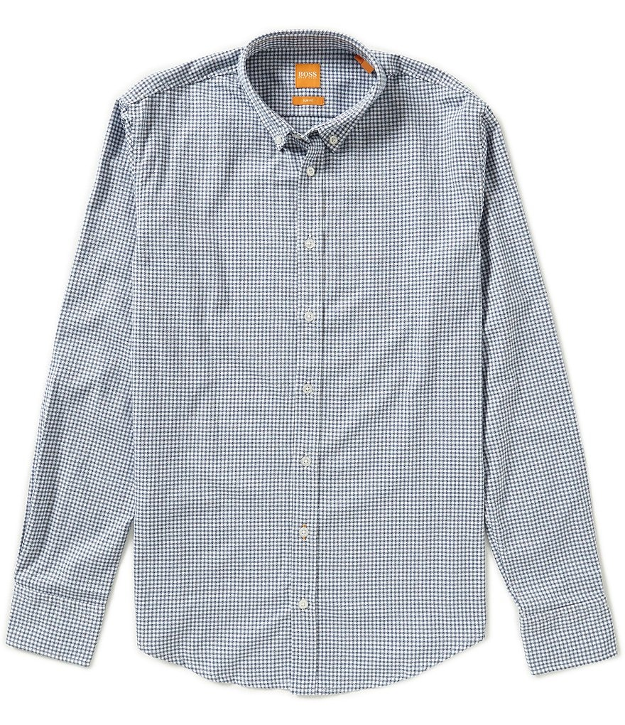 BOSS Orange Long-Sleeve Slim-Fit Edipoe Vichy Check Woven Shirt