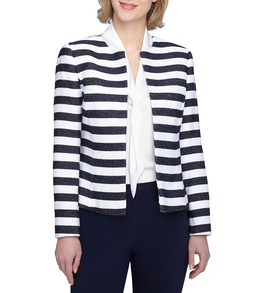 Tahari ASL Open Striped Jacket