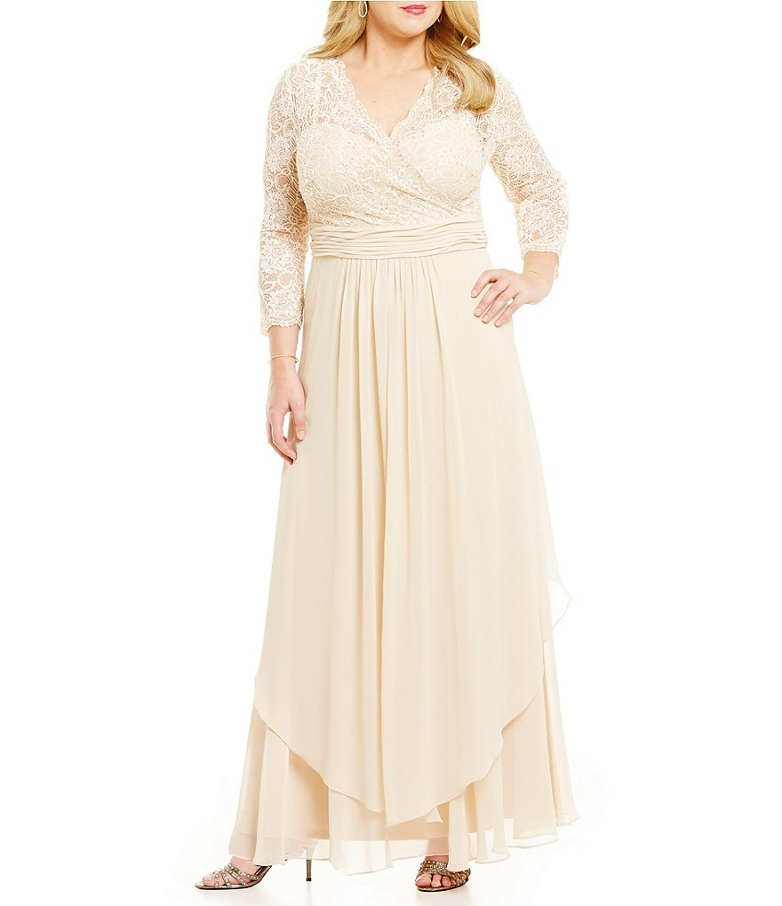 Emma Street Plus 3/4 Sleeve Lace Bodice Gown