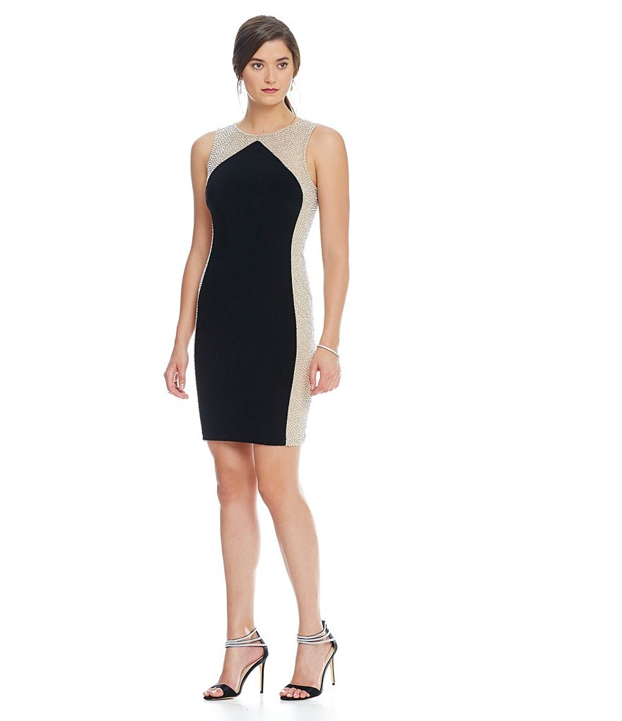 Xscape Caviar Side Beaded Sheath Sleeveless Dress