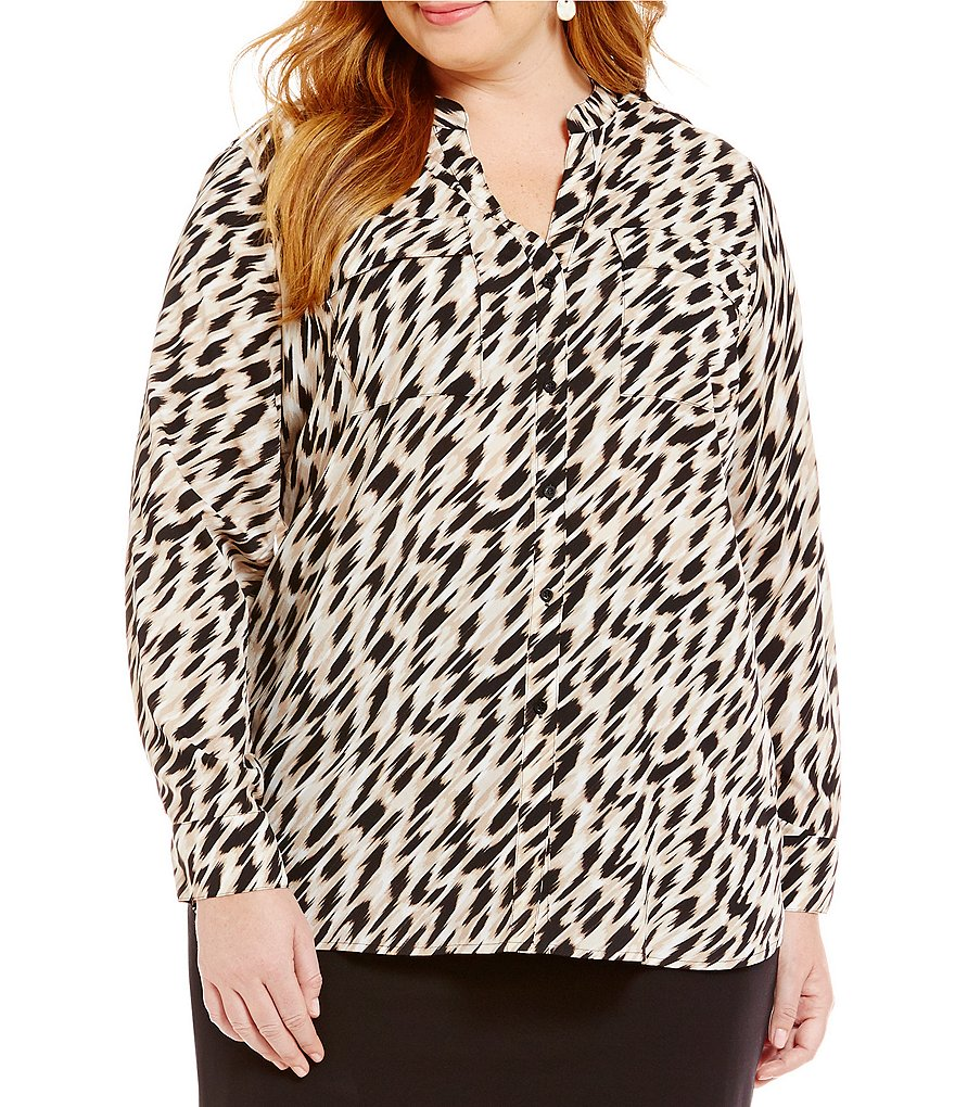 Calvin Klein Plus Printed Roll-Tab Sleeve Band Collar Crepe Blouse