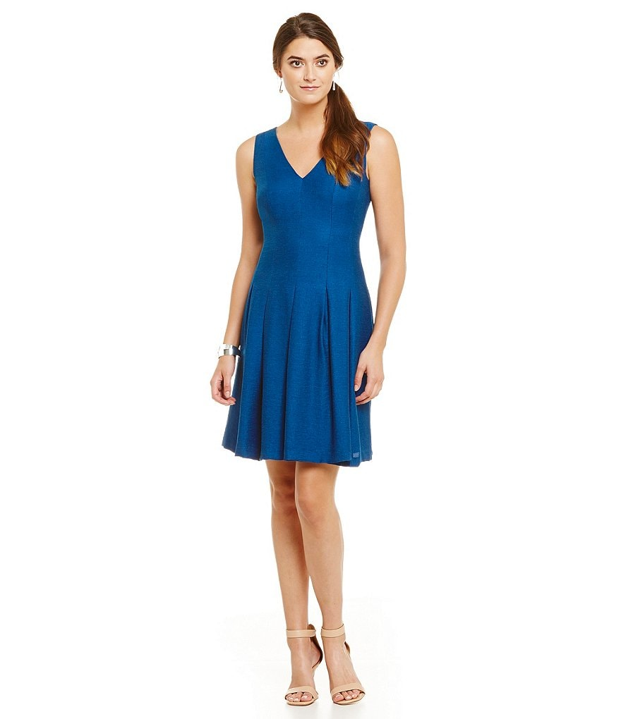 Anne Klein Shantung Fit-and-Flare Dress