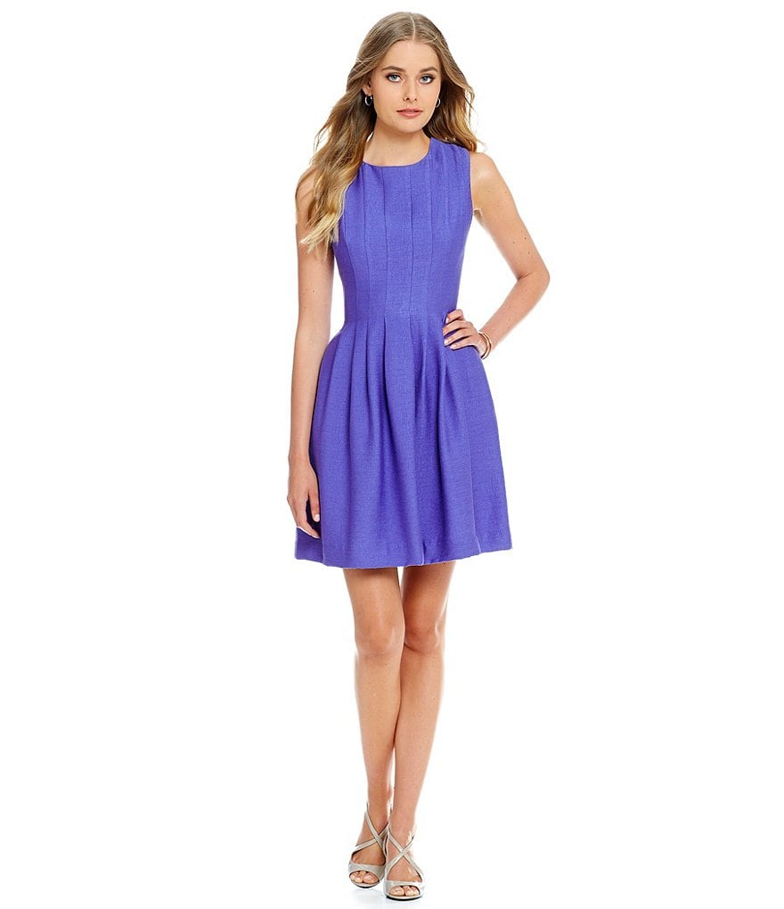 Anne Klein Seamed Shantung Fit and Flare Dress