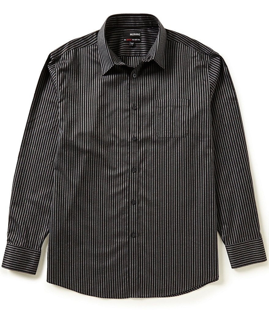 Murano Non-Iron Long-Sleeve Striped Sportshirt