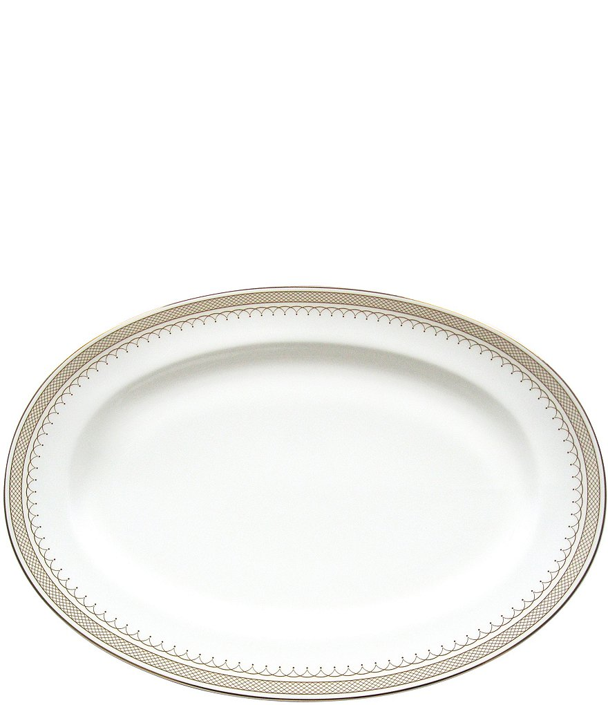 Nikko Lattice Gold Bone China Oval Platter