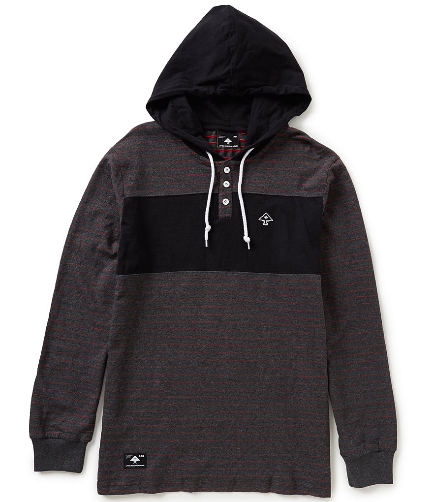 LRG Roots Horizontal-Stripe/Color Block Pullover Henley Hooded Tee