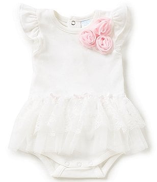 Starting Out Treasures Baby Girls Newborn-6 Months Chiffon Rosette & Lace Tutu Bodysuit
