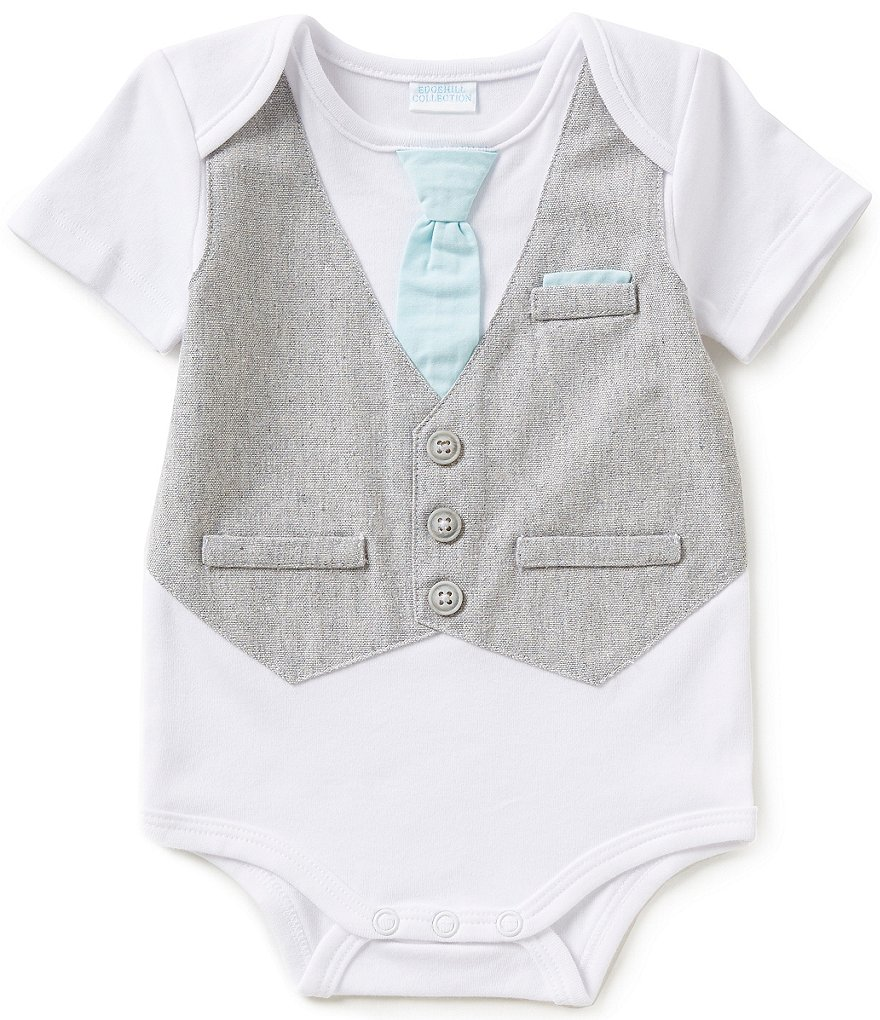 Starting Out Treasures Baby Boys Newborn-6 Months Faux-Vested Bodysuit