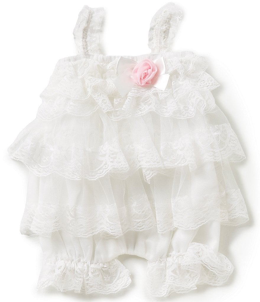 Edgehill Collection Baby Girls Newborn-6 Months Tiered Ruffle Romper