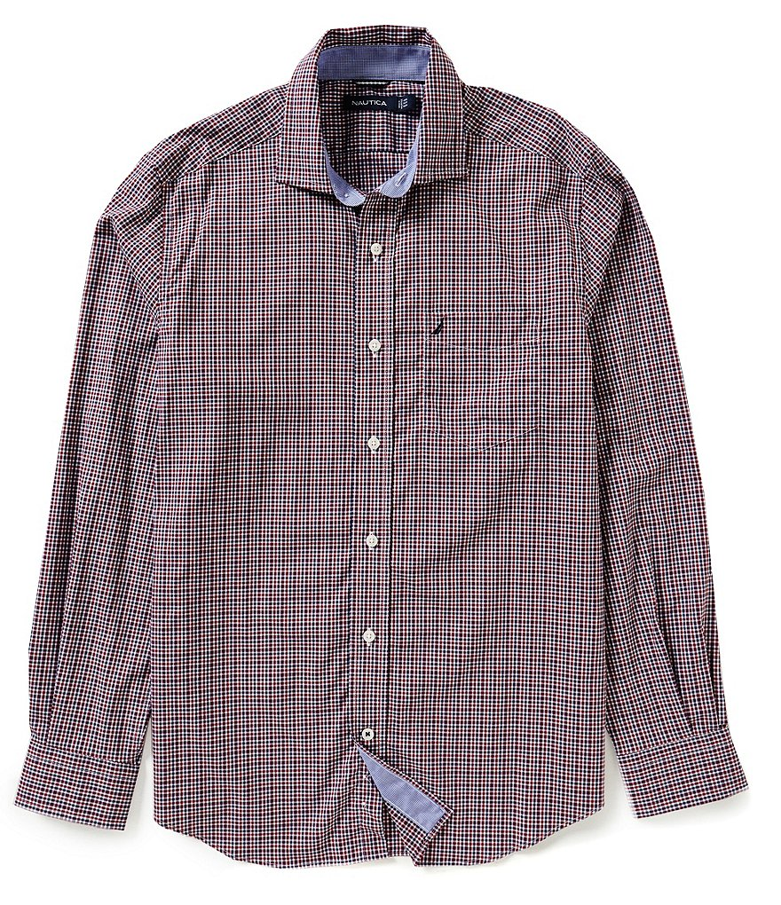 Nautica Classic-Fit Wrinkle-Resistant Biking Check Shirt