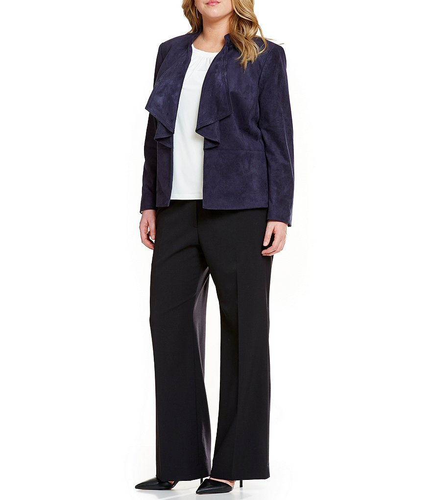 Tahari ASL Plus Ruffle-Front Jacket & Trouser Pants