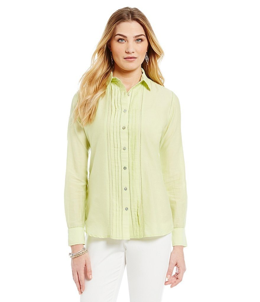 Sigrid Olsen Signature Pintuck Button Front Woven Top