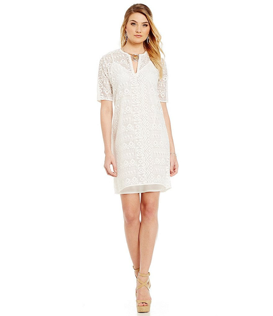 Sigrid Olsen Signature Geo Lace Shift Dress