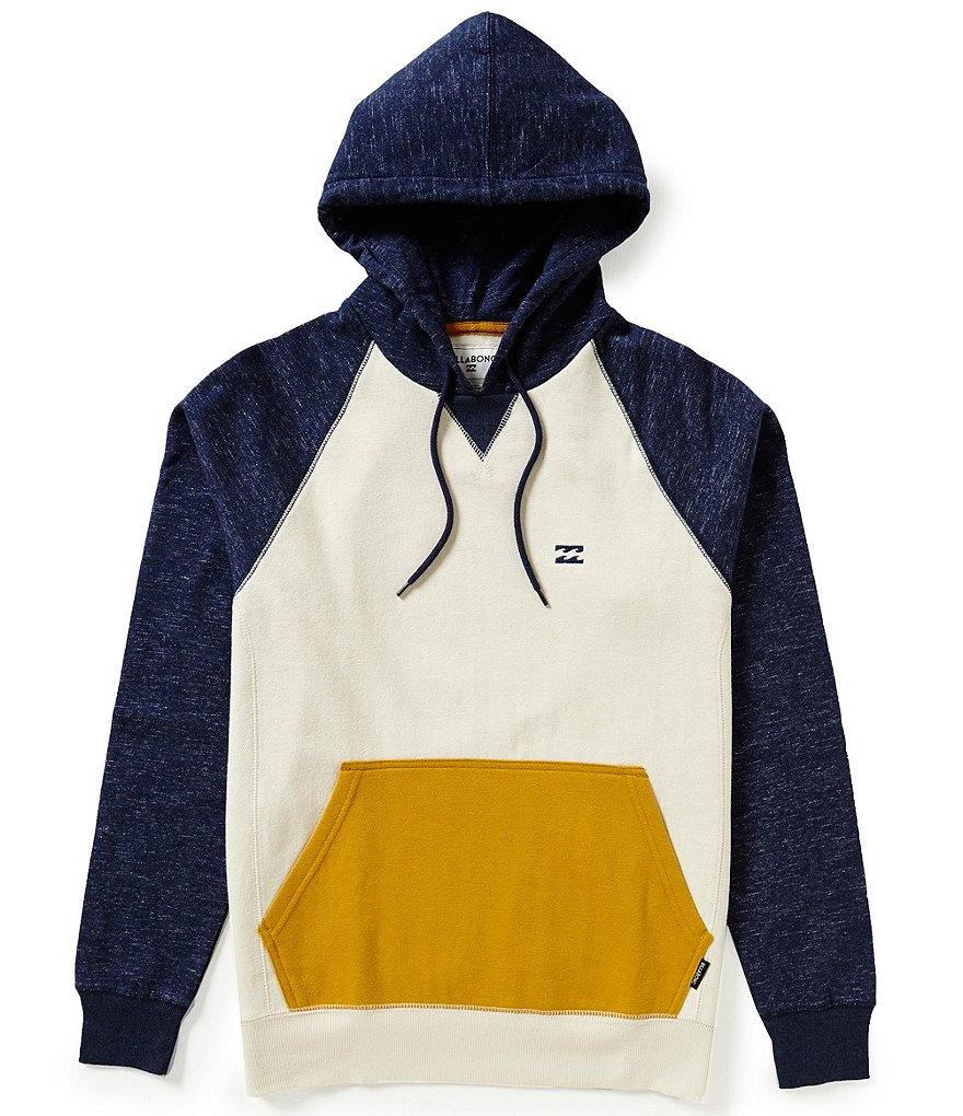 Billabong Balance Color Block Twill Slub Fleece Pullover Hoodie