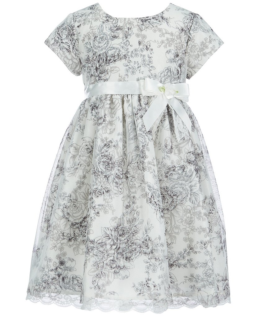 Bonnie Jean Little Girls 2T-6X Floral-Toile-Printed Shantung Dress