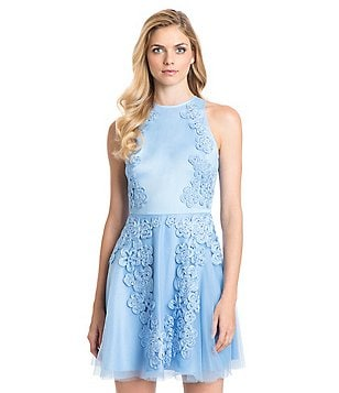 Belle Badgley Mischka Nanette Fit-and-Flare Sleeveless Floral Dress