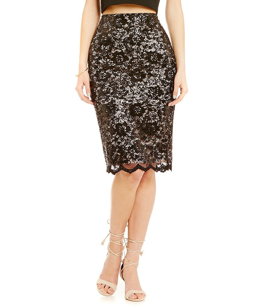 Belle Badgley Mischka Sequin Lace Nana Pencil Skirt