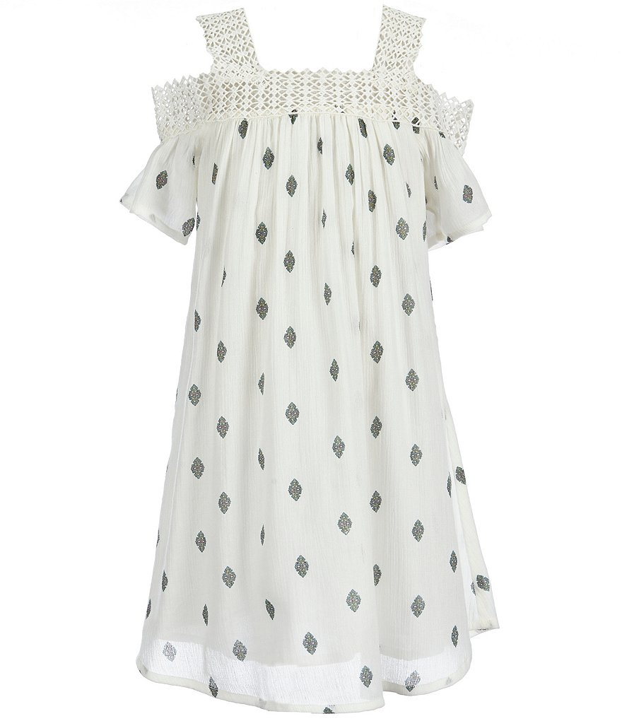O´Neill Big Girls 7-16 Domini Diamond-Printed Cold-Shoulder Lace-Trim Dress