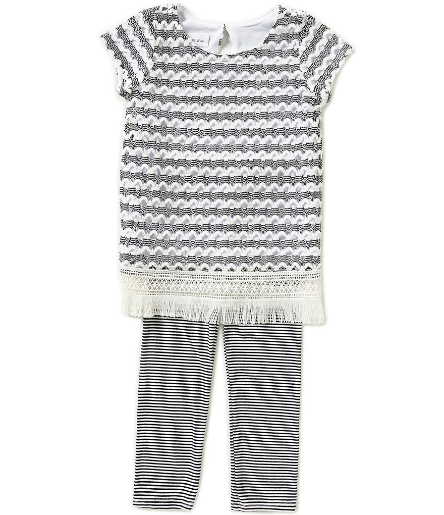 Bonnie Baby Baby Girls 12-24 Months Crocheted Knit Dress and Thin-Striped Pants Set