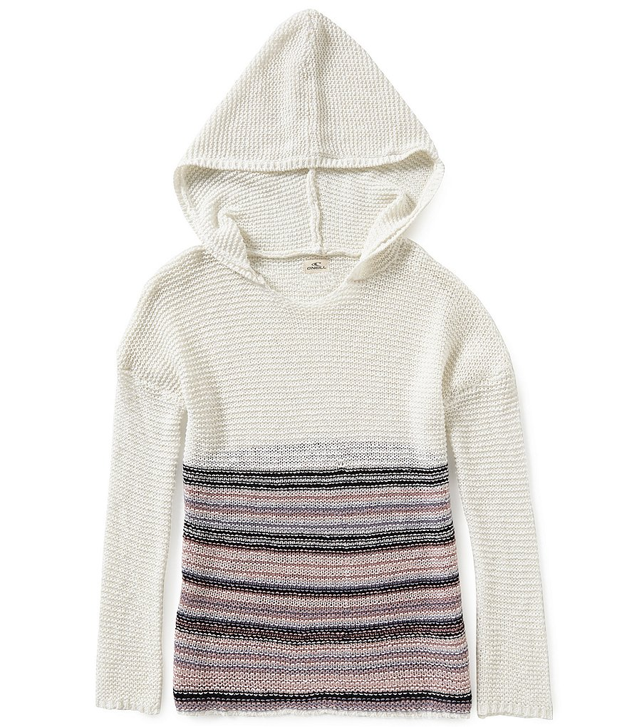 O´Neill Big Girls 7-16 Elle Striped-Border-Hem Hooded Sweater