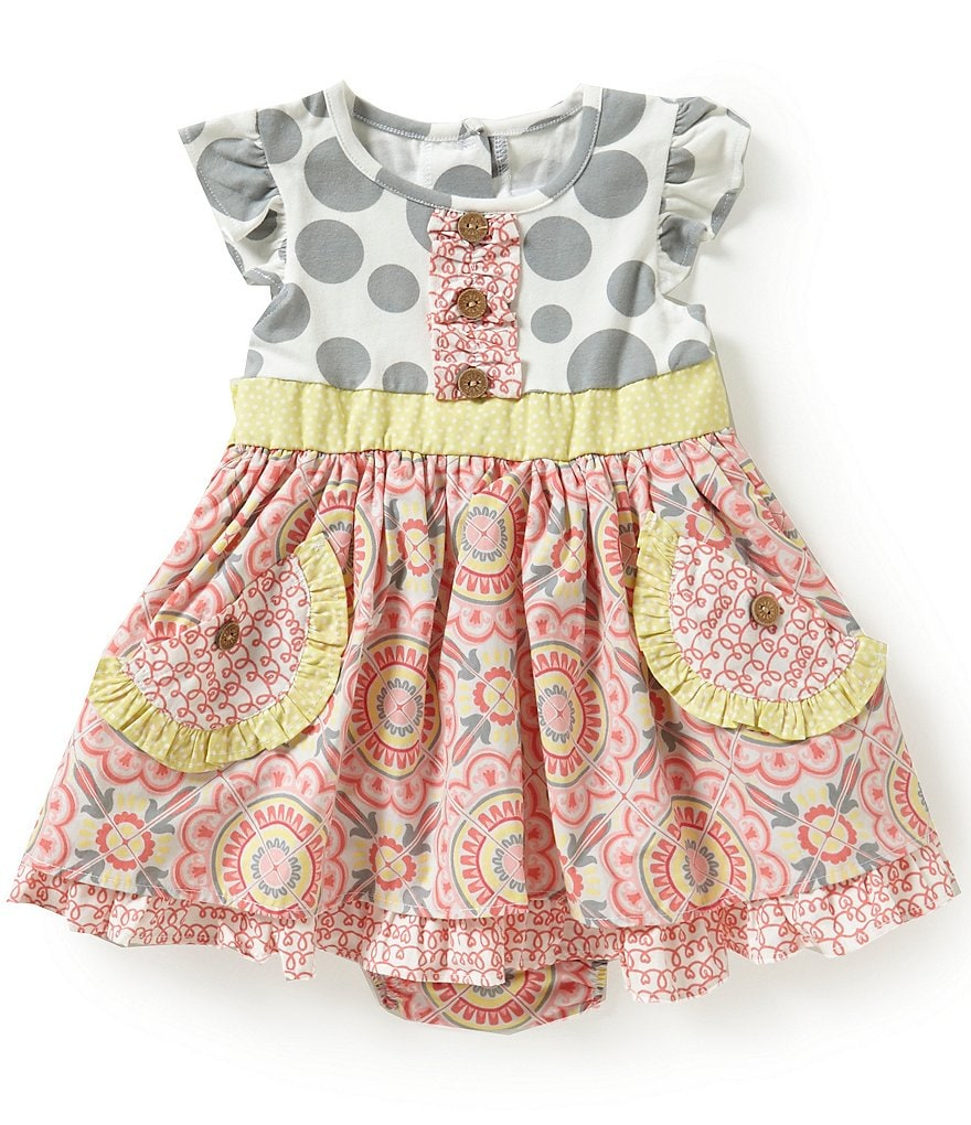 Rare Editions Baby Girls 12-24 Months Dotted & Floral Bow-Back A-Line Dress