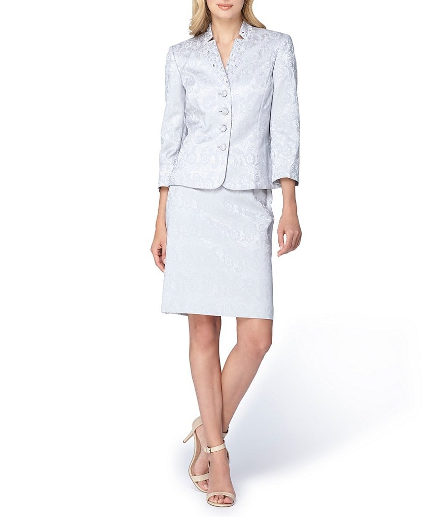 Tahari ASL Beaded Jacquard Skirt Suit