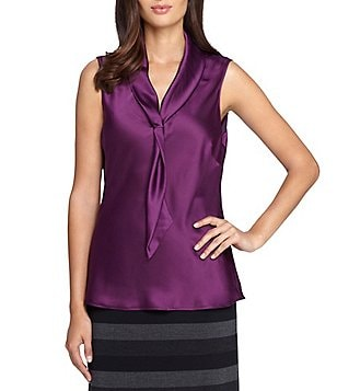 Tahari ASL Petite Sailor Tie-Neck Sleeveless Top