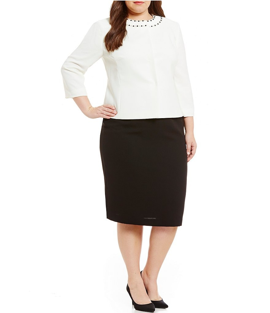 Tahari ASL Plus Jeweled Neck Skirt Suit