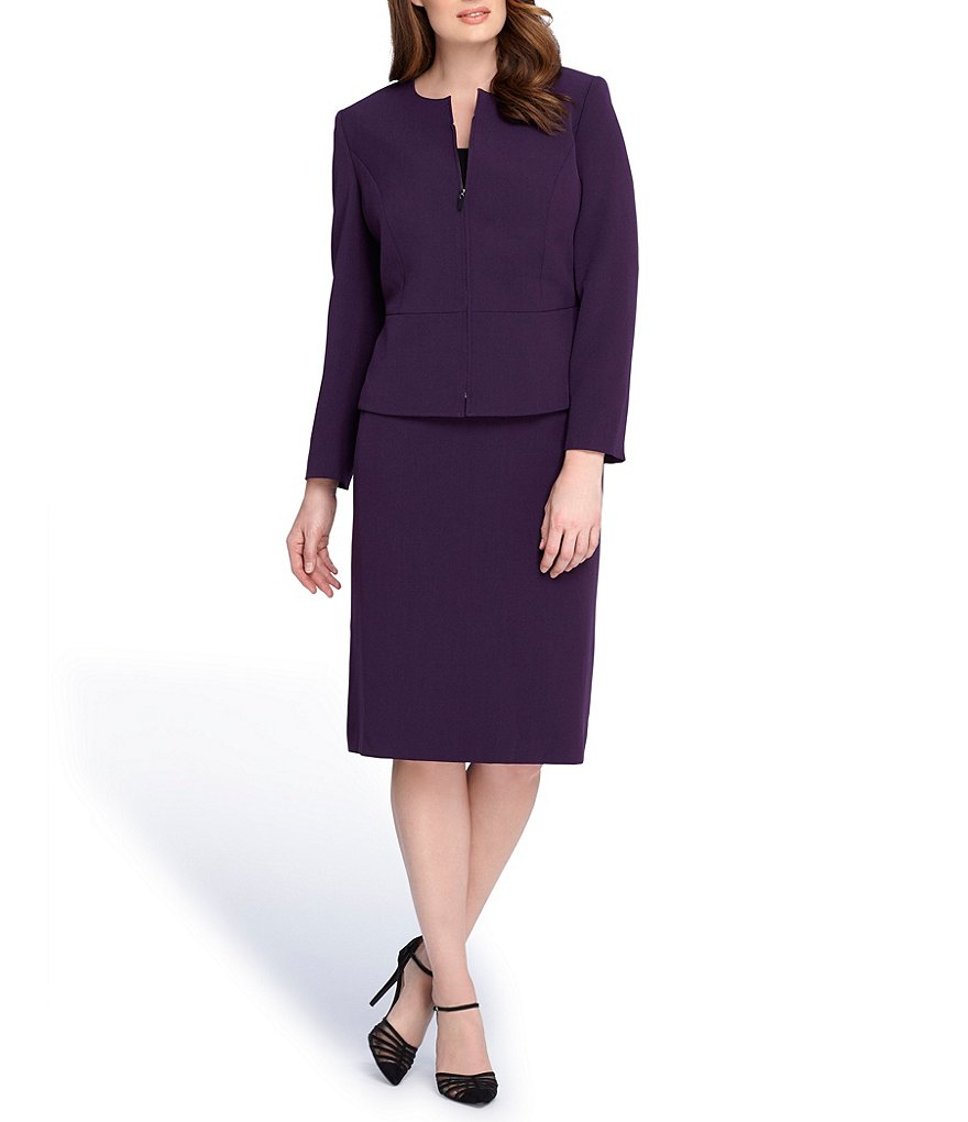 Tahari ASL Plus Zip Up Peplum Skirt Suit
