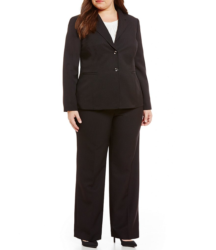 Tahari ASL Plus Shadow Stripe Pant Suit